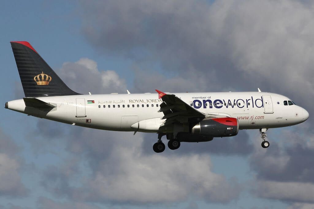 Oneworld Royal Jordanian Airline Airbus A319 132 JY AYP Ajloun at Amsterdam Airport Schiphol