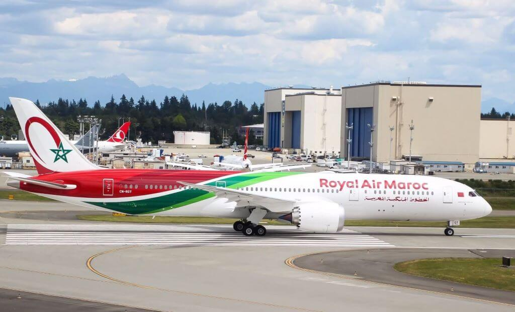 RAM Royal Air Maroc Boeing 787 9 Dreamliner CN RGY left Everett PAE on a delivery flight