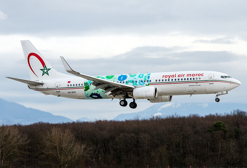 Royal Air Maroc Wings of African Art Livery CN RGG Boeing 737 86N at Geneva International