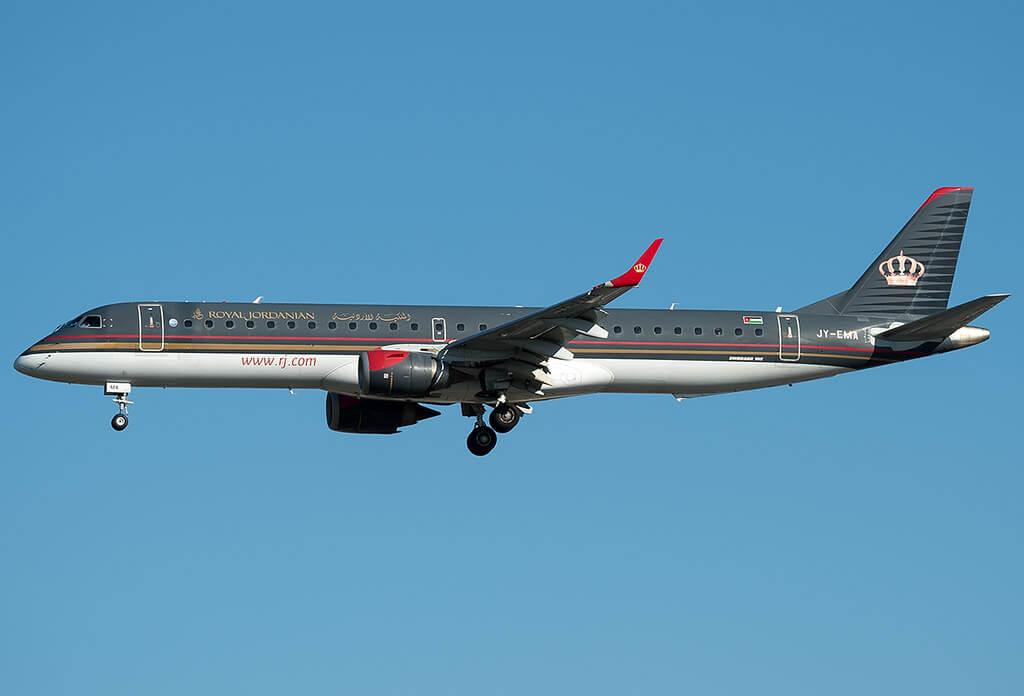 Royal Jordanian Airline Embraer 195LR ERJ 190 200LR JY EMA Umm Qais at Rome Fiumicino