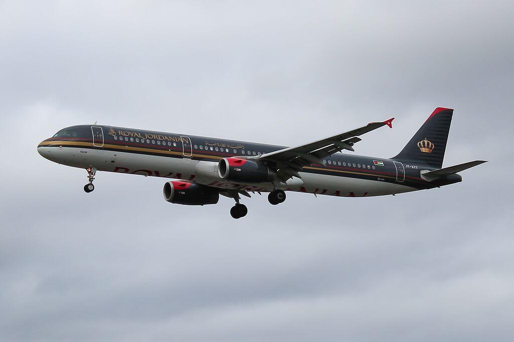 Royal Jordanian JY AYT Airbus A321 200 Karak at London Heathrow Airport
