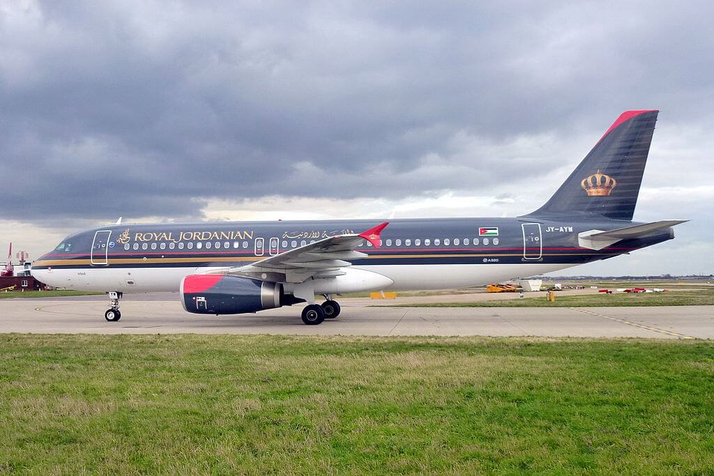 Royal Jordanian JY AYY Airbus A319 100 Mafraq at London Heathrow Airport