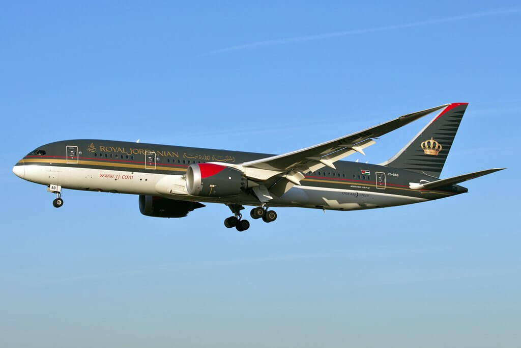 Royal Jordanian JY BAB Boeing 787 8 Dreamliner Princess Iman Bint Abdullah at London Heathrow Airport