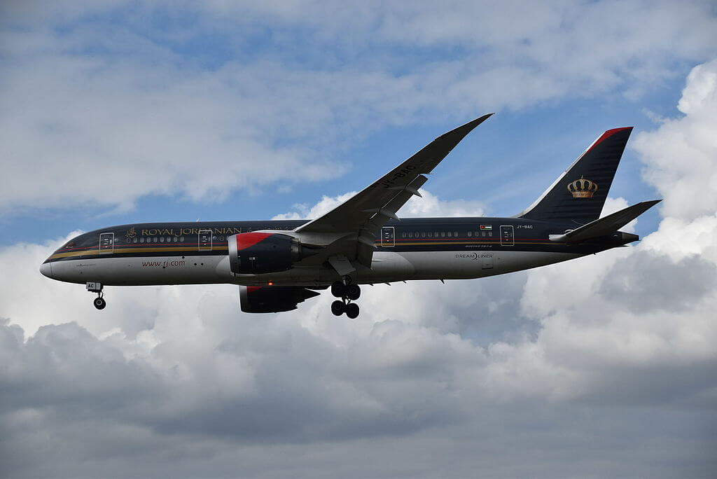 Royal Jordanian JY BAC Boeing 787 8 Dreamliner Princess Salma Bint Abdullah at London Heathrow Airport