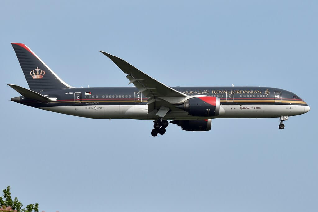 Royal Jordanian JY BAH Boeing 787 8 Dreamliner Prince Faisal bin Al Hussein at John F. Kennedy International Airport