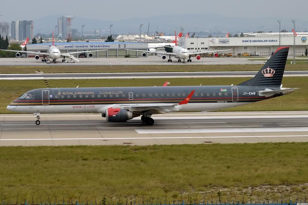 Royal Jordanian JY EMB Embraer ERJ 195AR Ma'in at Istanbul Atatürk Airport