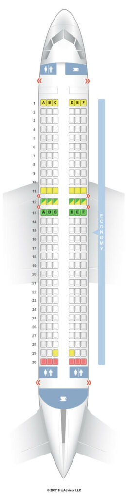Seat Map and Seating Chart Airbus A320 200 ceo Pegasus Airlines