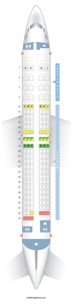 Seat Map and Seating Chart Boeing 737 800 Kenya Airways