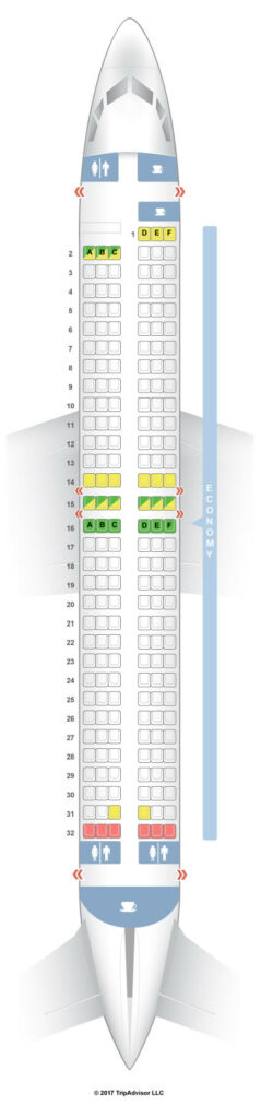 Seat Map and Seating Chart Boeing 737 800 Pegasus Airlines
