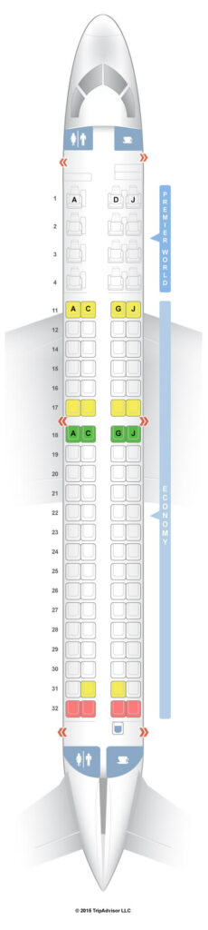 Seat Map and Seating Chart Embraer E190 Kenya Airways