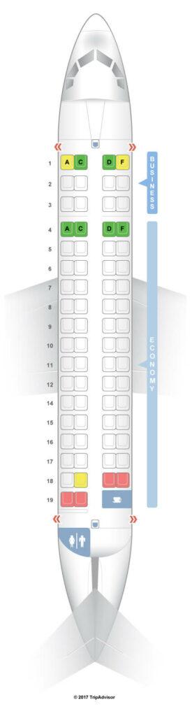 Seat Map and Seating Chart Royal Air Maroc ATR 72 600