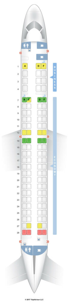 Seat Map and Seating Chart Royal Air Maroc Embraer E190