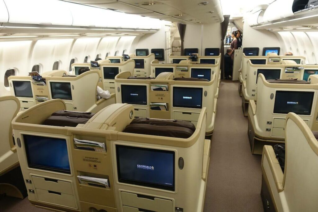 Singapore Airlines Airbus A330 300 business class cabin