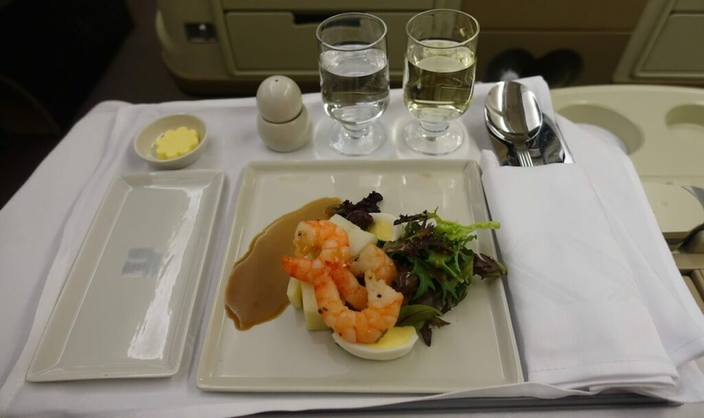 Singapore Airlines Airbus A330 300 business class meal — appetizer