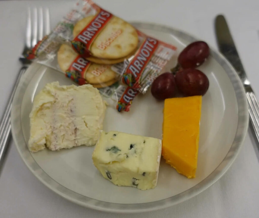 Singapore Airlines Airbus A330 300 business class meal — cheese plate
