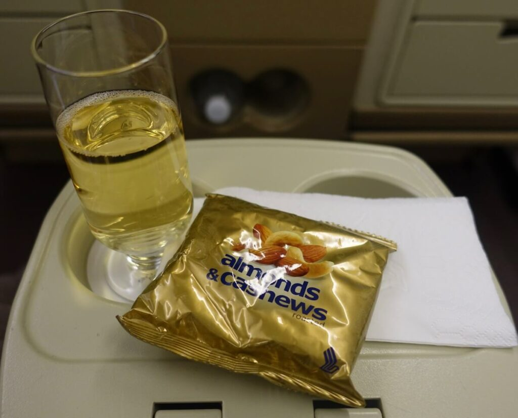 Singapore Airlines Airbus A330 300 business class meal — drinks and nuts