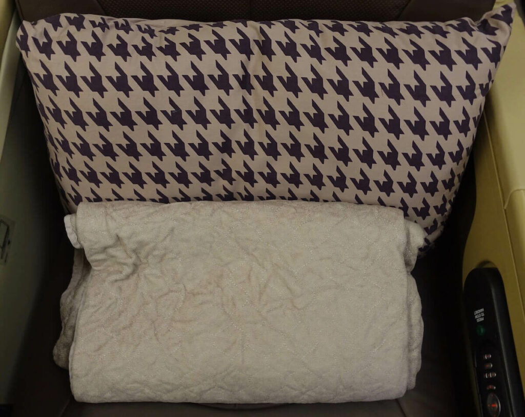 Singapore Airlines Airbus A330 300 business class pillow and blanket