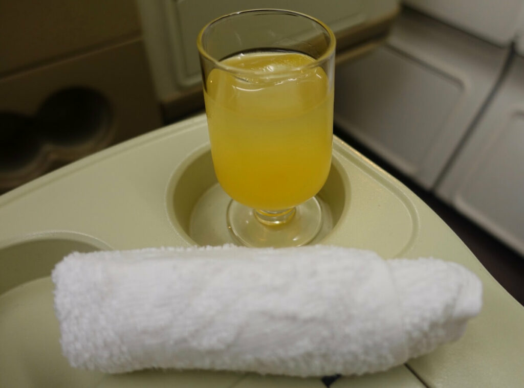 Singapore Airlines Airbus A330 300 business class pre departure drinks and towels