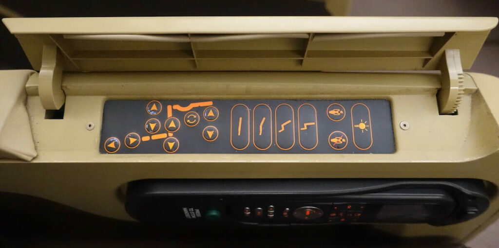 Singapore Airlines Airbus A330 300 business class seat controls