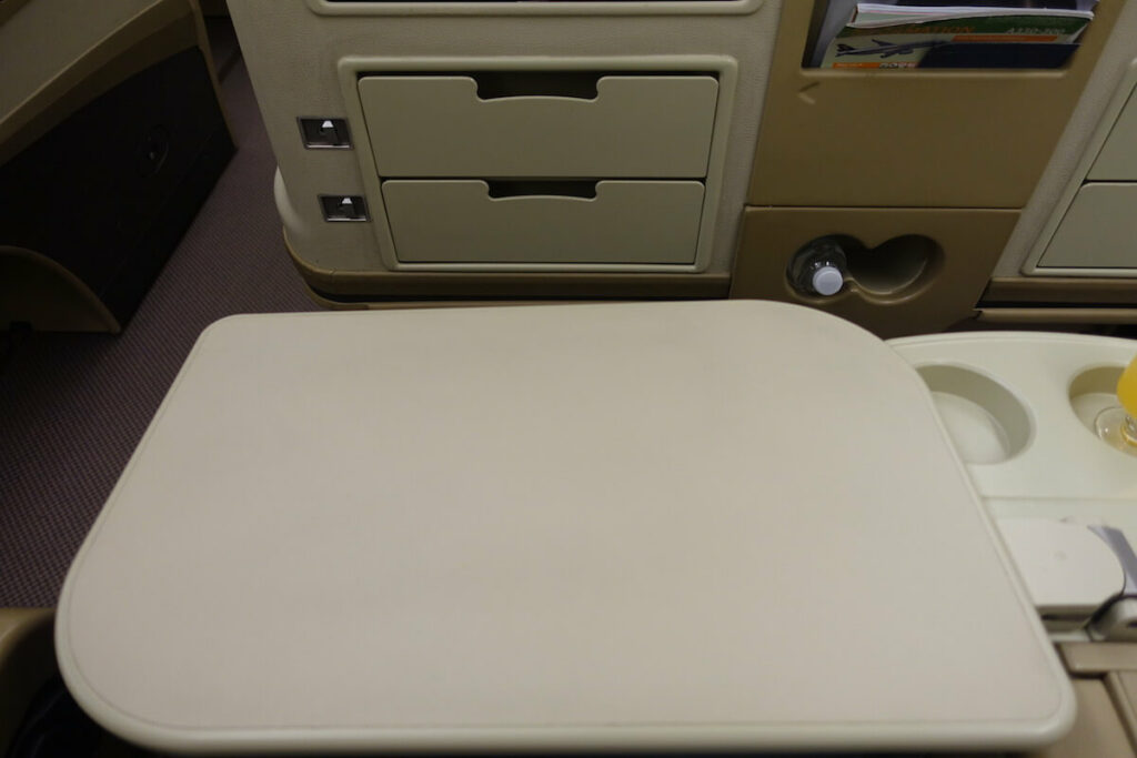 Singapore Airlines Airbus A330 300 business class tray table