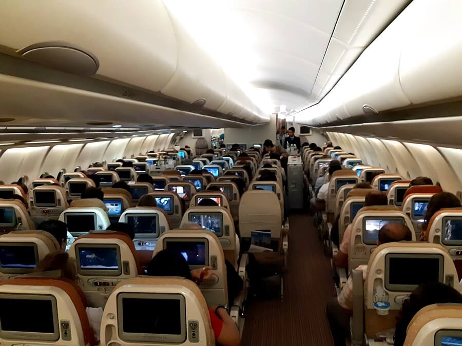Singapore Airlines Airbus A330 300 economy class onboard cabin interior