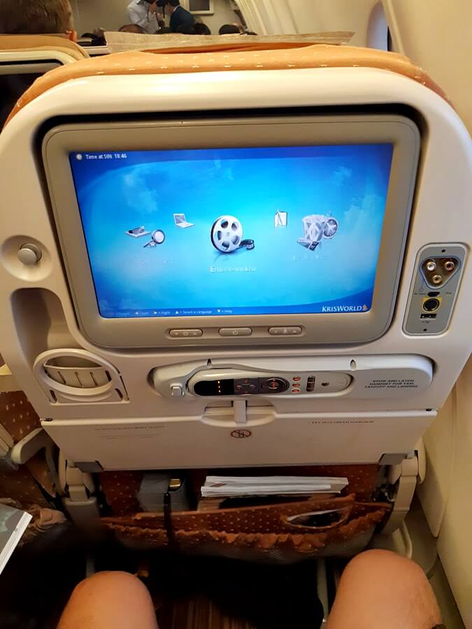 Singapore Airlines Airbus A330 300 economy class seatback IFE