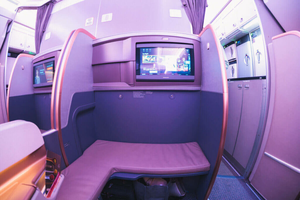Singapore Airlines Airbus A350 900 Business Class Bulkhead Space