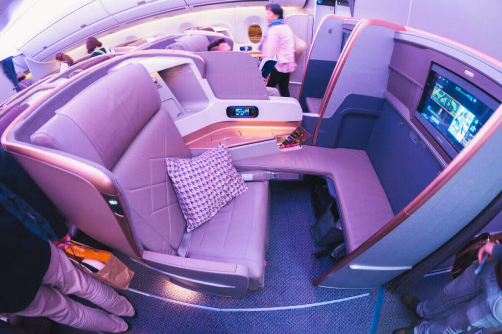 Singapore Airlines Airbus A350 900 Business Class Middle Seat with Privacy Divider Closed