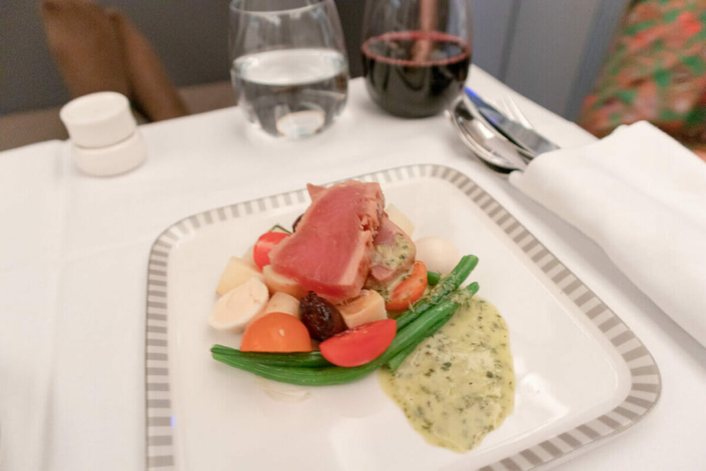 Singapore Airlines Airbus A350 900 Business Class Seared Tuna with Niçoise Salad