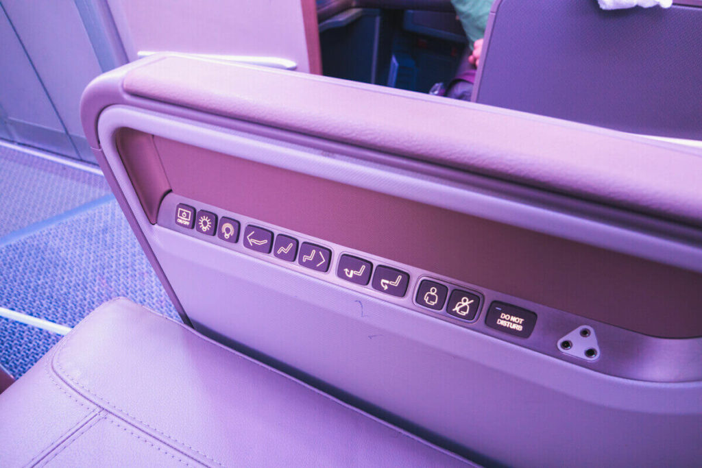 Singapore Airlines Airbus A350 900 Business Class Seat Adjustment Buttons