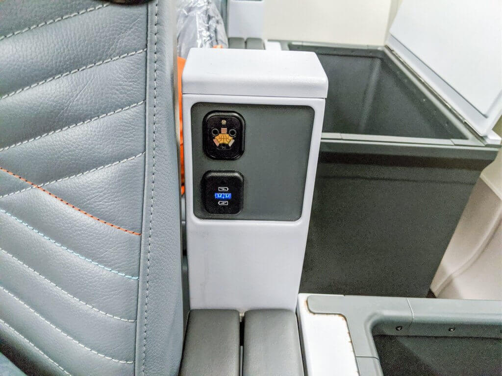 Singapore Airlines Airbus A350 900 Premium Economy USB outlet and headphone jack