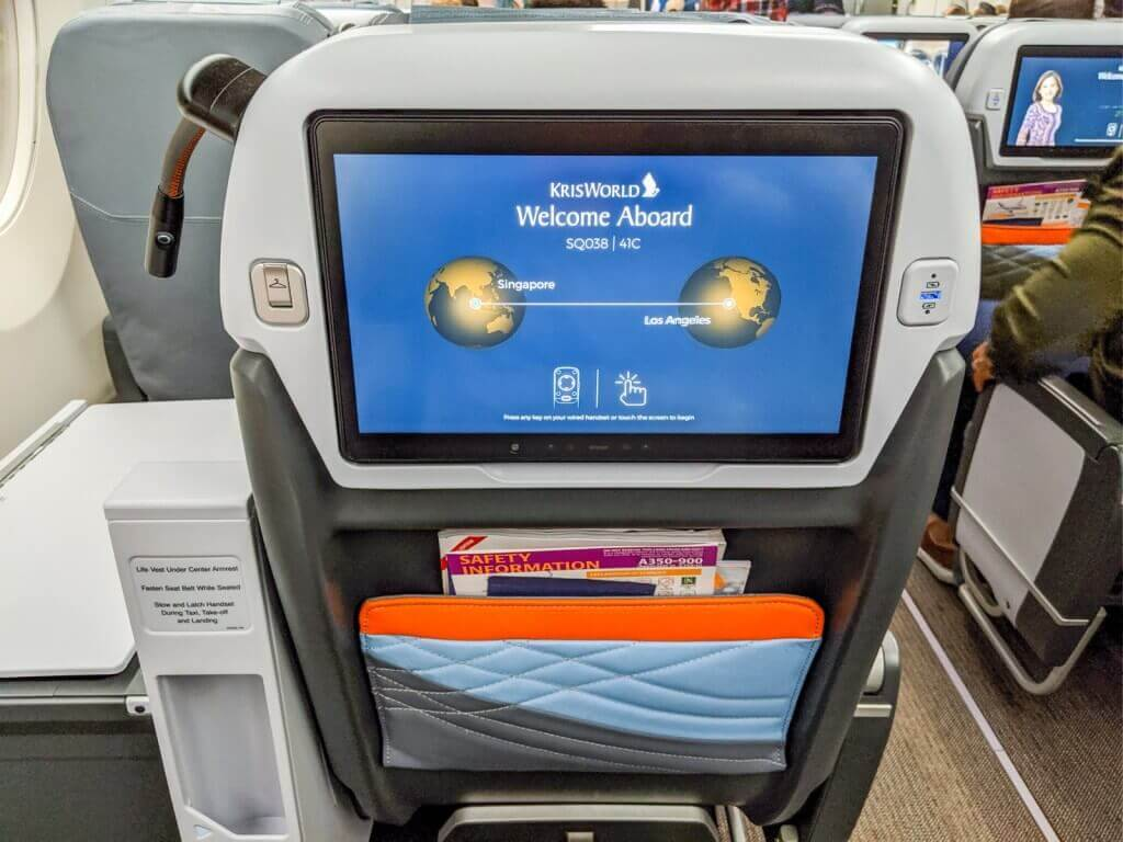 Singapore Airlines Airbus A350 900 Premium Economy seatback screen
