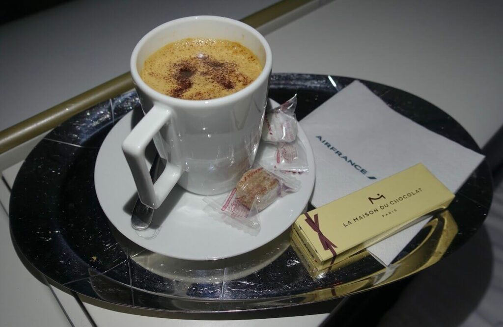 Air France Boeing 777 300ER First Class La Premiere cappuccino