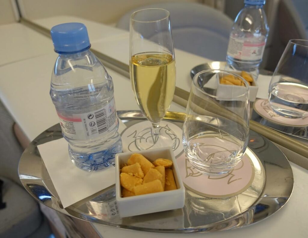 Air France Boeing 777 300ER First Class La Premiere champagne snacks