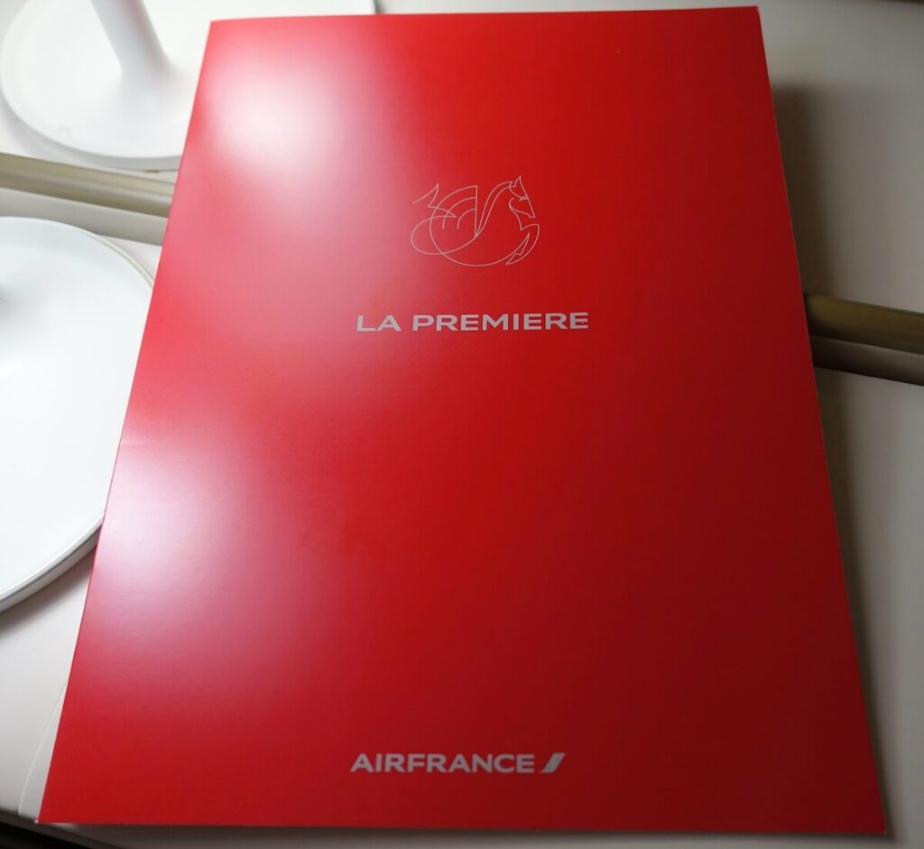 Air France Boeing 777 300ER First Class La Premiere menu