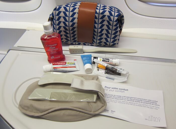 Air France Boeing 777 300ER business class amenity kit contents