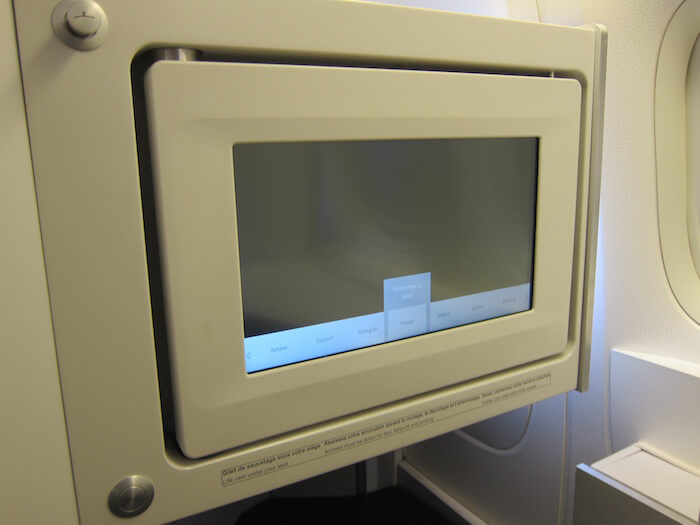 Air France Boeing 777 300ER business class entertainment screen