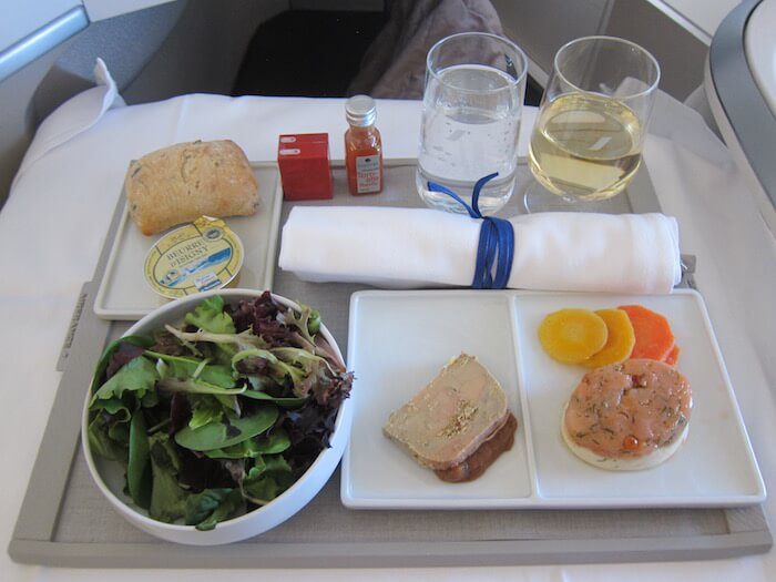Air France Boeing 777 300ER business class onboard meal services