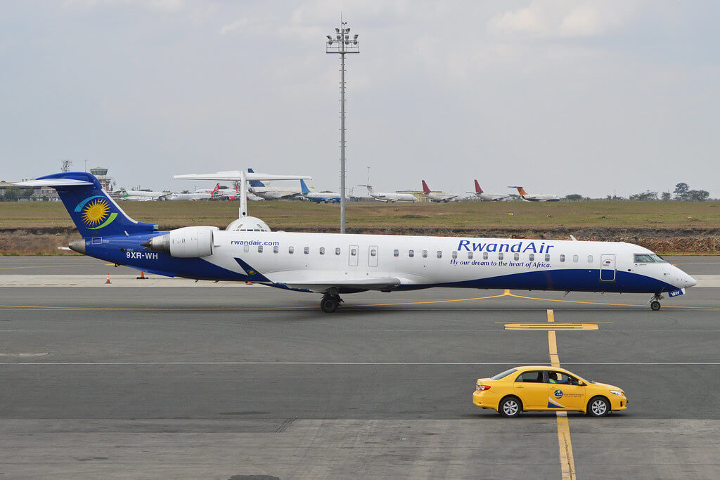 Bombardier CRJ 900 9XR WH Rwandair at Nairobis Jomo Kenyatta International Airport