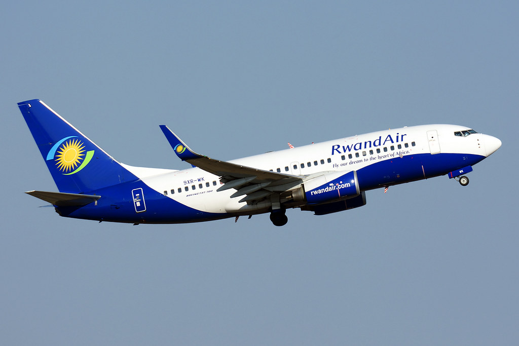RwandAir 9XR WK Boeing 737 7K5WL at Johannesburg