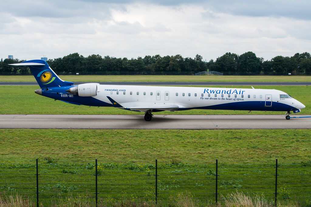 RwandAir Bombardier CRJ 900 NextGen 9XR WI at Rotterdam The Hague Airport