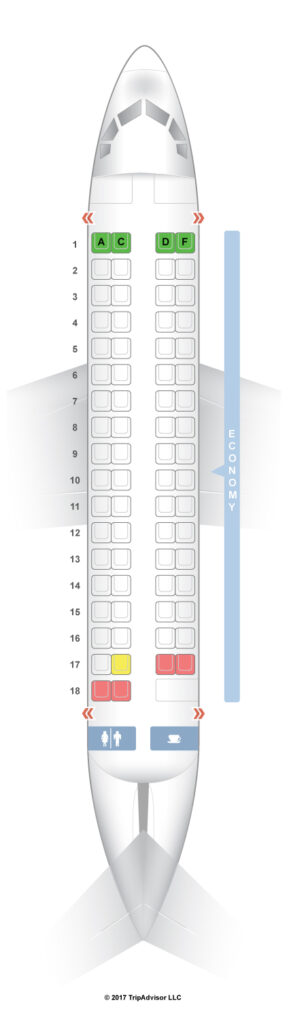 Seat Map and Seating Chart Air Vanuatu ATR 72