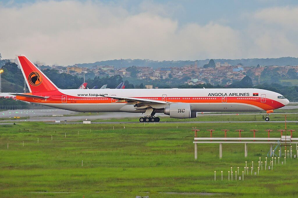 TAAG Angola Airlines D2 TEI Boeing 777 300ER Ebo at Sao Paulo Guarulhos International Airport