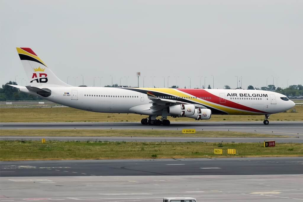 Airbus A340 313 Air Belgium OO ABD at Warsaw Frederic Chopin Airport