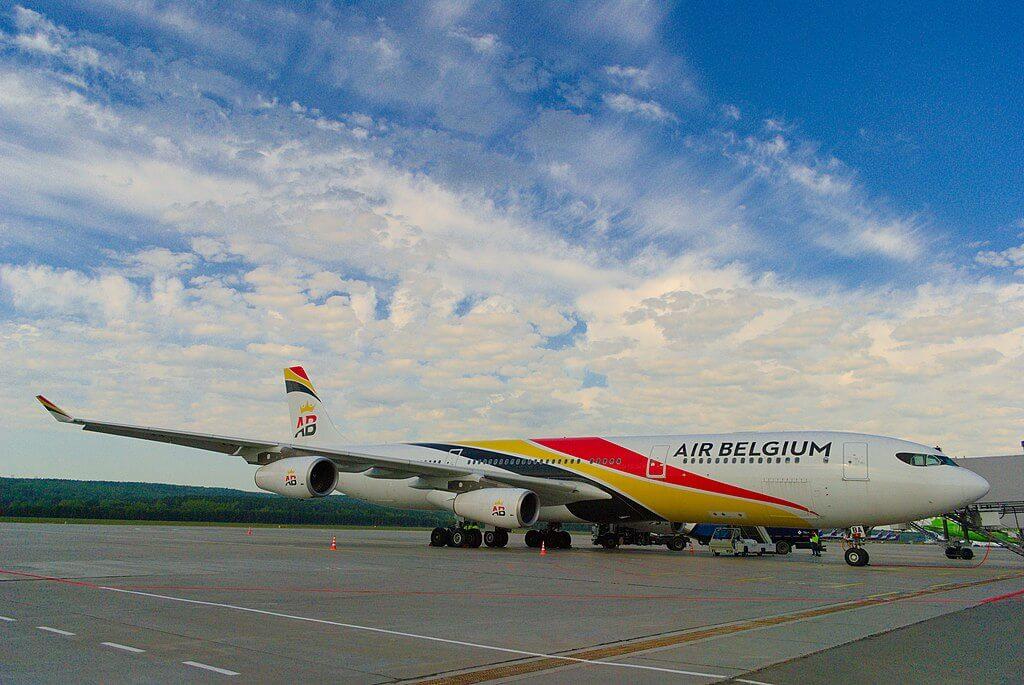 Airbus A340 313 Air Belgium OO ABE at Krasnoyarsk International Airport