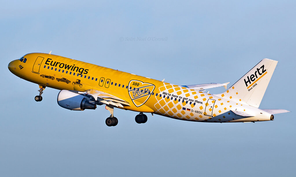 D ABDU Airbus A320 214 Eurowings Hertz livery at London Heathrow Airport