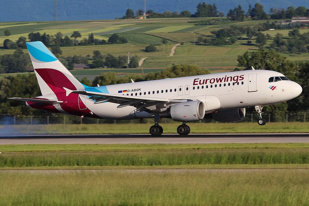 D ABGK Eurowings Airbus A319 100 at Stuttgart Airport