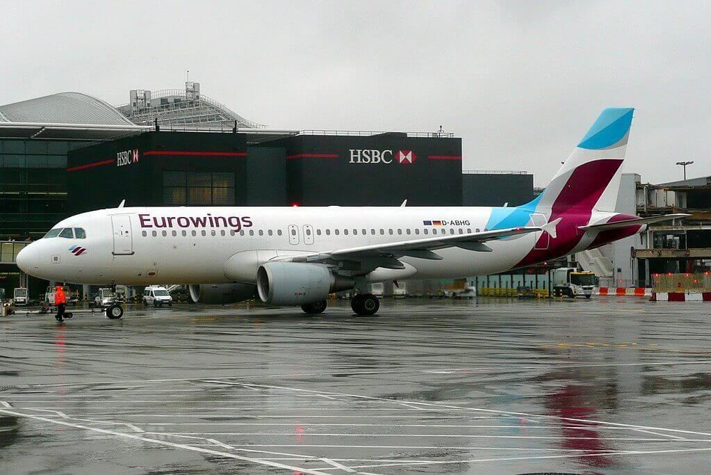 D ABHG Airbus A320 of Eurowings at London Heathrow Airport