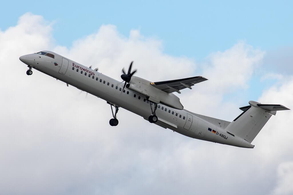 D ABQJ Eurowings LGW De Havilland Canada DHC 8 402Q Dash 8 departing 23R Manchester Airport