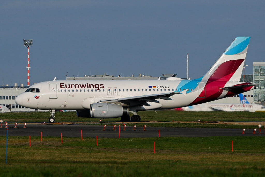 D AGWC Airbus A319 132 Eurowings leased from SMBC Aviation Capital at Duesseldorf International Airport DUS